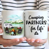 Two Woman With 1 Kid & 1 Dog - Personalized Camping Mug, Camping Partners For Life