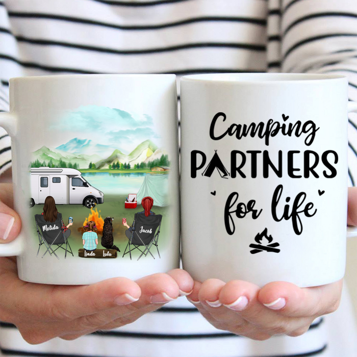 Personalized dog & owners coffee mug, gift idea for same sex couple, dog lovers - 2 Women with 1 Kid & 1 Dog Camping Mug - Camping Partners For Life