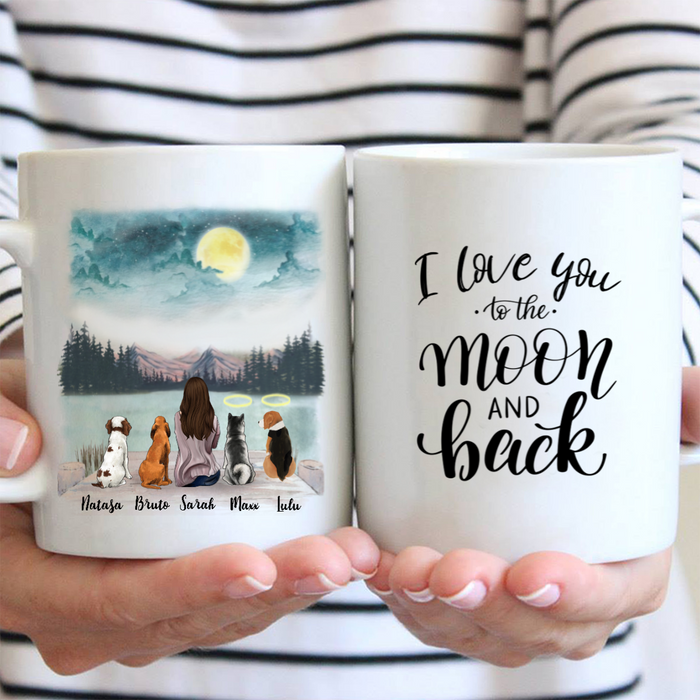 Personalized Dog Mug - Gift For Dog Mom - 4 Dogs & Mom - I love you to the moon and back