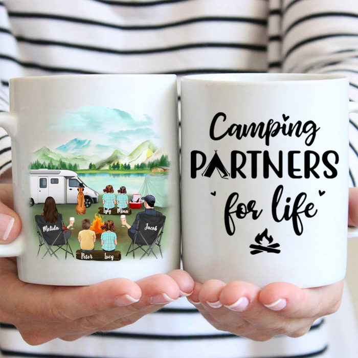 Personalized dog mug gifts for the whole family, dog lovers - Parents, 4 Kids & 1 Dog Family Camping Mug - Camping Partners For Life