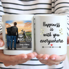 Personalized Coffee Mug Gift For Couple - Valentines day gift for him her boyfriend girlfriend - Biker Couple Mug - Happiness is with you everywhere