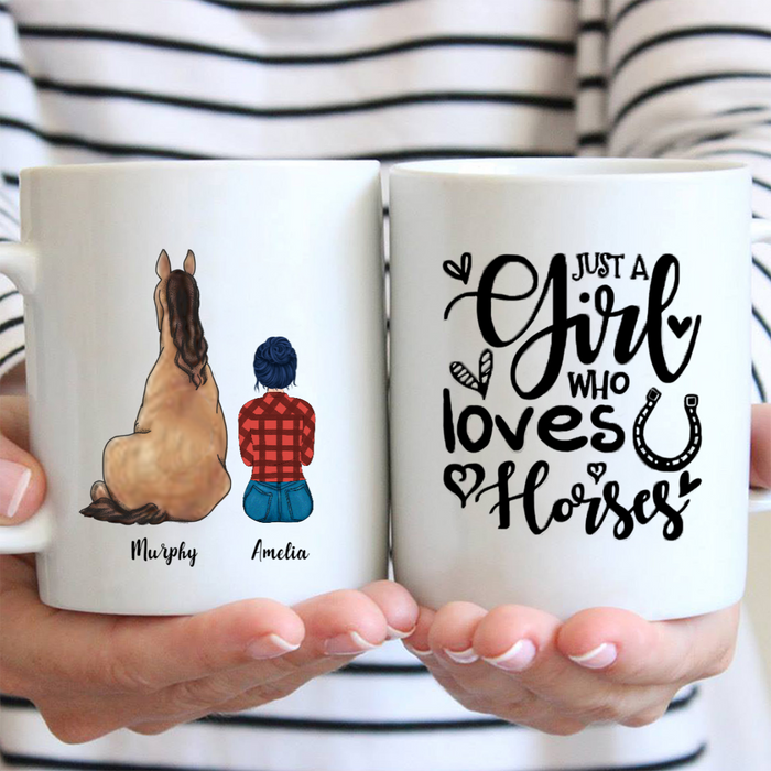 Personalized Coffee Mug, Best Gift For Horse Mom - Girls & 1 Horse - Just A Girl Who Loves Dog