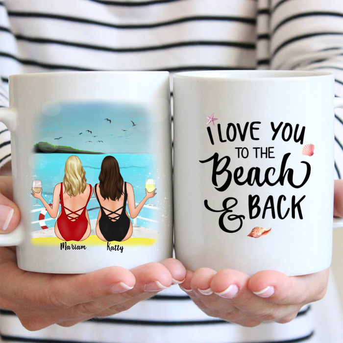 Bikini Girls On Boat - With Drink/No Drink - Best Friend Personalized Mug