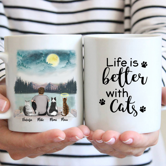 Personalized Cat Coffee Mug - Gifts For Cat Dad - Upto 3 cats - Life is better with cats