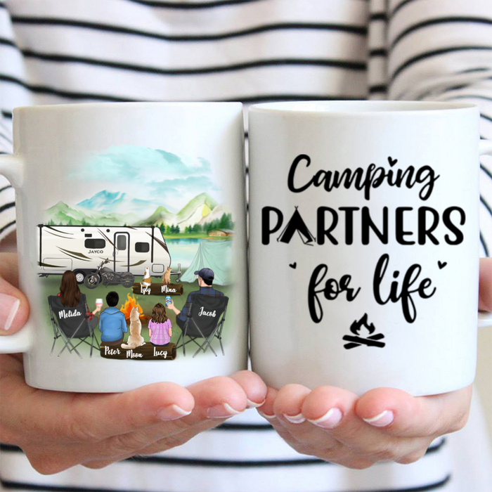 Personalized camping coffee mug gift idea for the whole family, cat dog lovers - Parents with 2 kids & 2 pets - Father's day gift - Mother's day gift from husband to wife