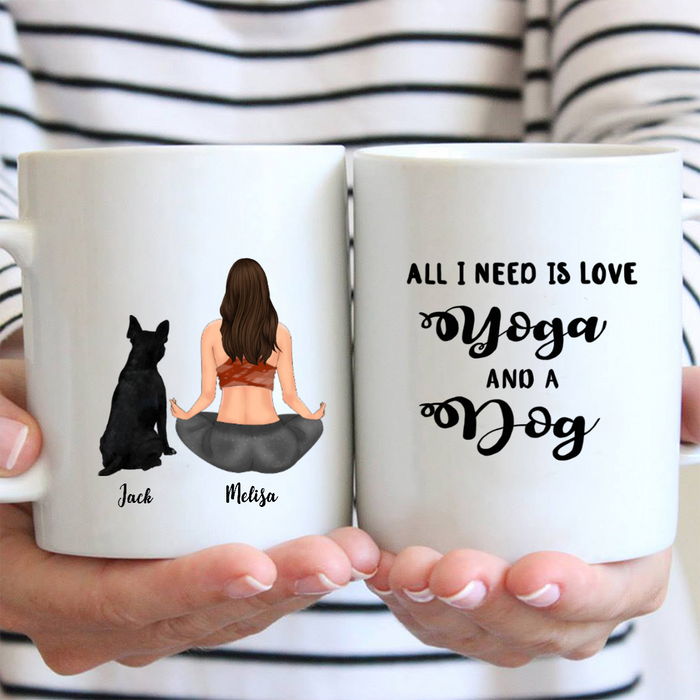 Personalized Dog Mug - Gifts For Dog Mom - DOG & MOM - All I need is love yoga and a dog