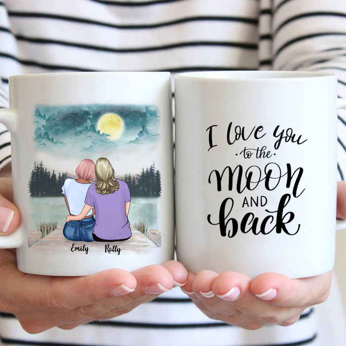Personalized Coffee Mug, Best Gift for Mom from Daughter -  Mom & Daughter Mug - I love you to the môn and back