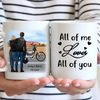 Personalized Coffee Mug Gift For Couple - Valentines day gift for him her boyfriend girlfriend - Biker Couple Mug - All of me loves all of you