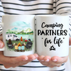 Personalized camping coffee mug gift idea for the whole family, cat dog lovers - Parents with 3 kids & 1 pet - Father's day gift - Mother's day gift from husband to wife