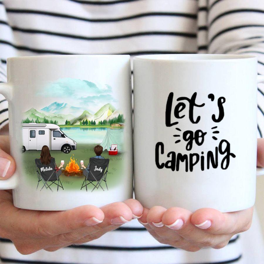 Personalized Gift For Same Sex Couple - Personalized Camping Mug - 2 Women Let's Go Camping