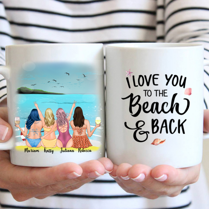 Custom personalized best friend coffee mug - 4 Girls On The Sea/Beach - Best Friends Personalized Birthday Gift