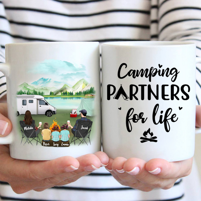 Family With 3 Kids - Personalized Camping Mug, Camping Partners For Life
