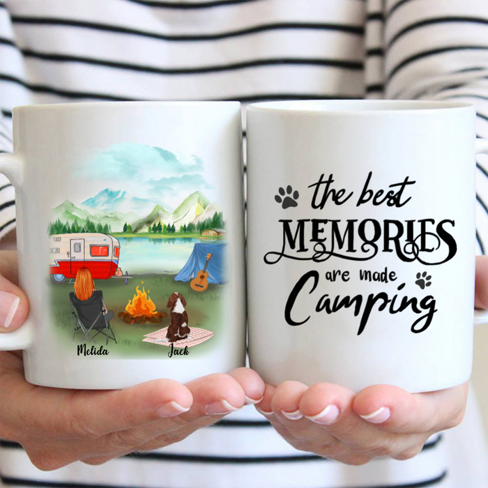 Personalized Dog Mug - Personalized Gifts For Dog Mom, Camping Lovers - Upto 3 dogs & mom Camping Mug