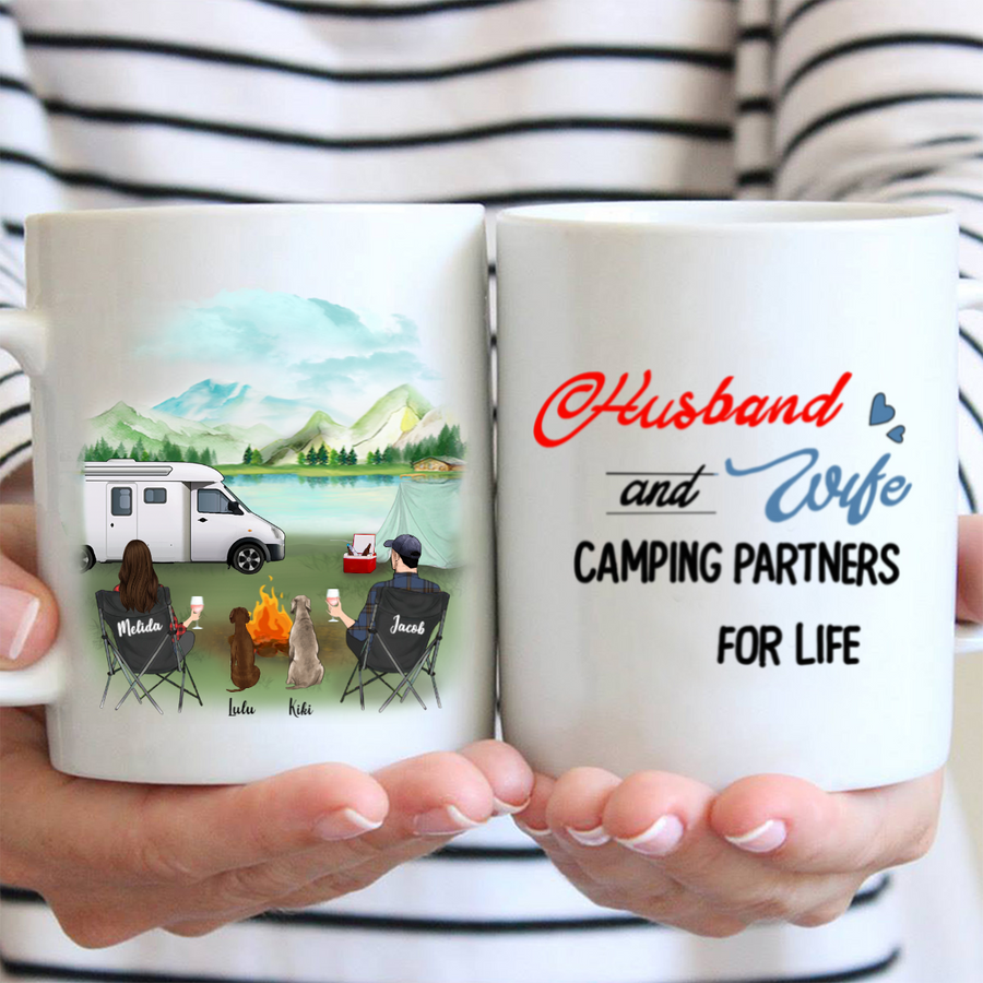 Personalized camping coffee mug gifts for dog lovers - Couple & 2 Dogs - Husband and Wife Camping Partners For Life