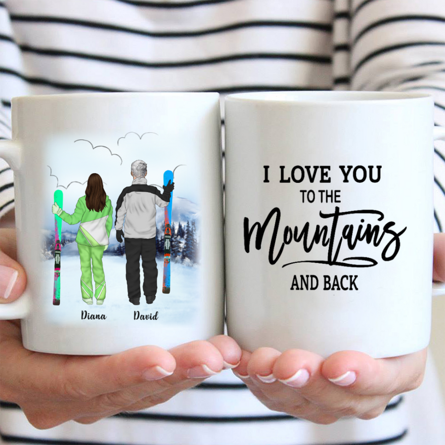 Personalized Coffee Mug - Best Gift For Couple, Skiing Lovers - Valentines day gift for him her boyfriend girlfriend - Skiing Couple  Mug - I Love You To The Mountains And Back