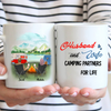 Personalized camping coffee mug - Gift for couple, camping lovers - Couple - Husband and wife camping partners for life