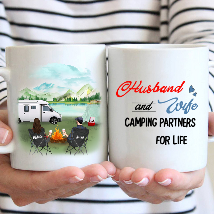 Personalized couple camping coffee mug, gift for couple, camping lovers - Husband and wife camping partners for life