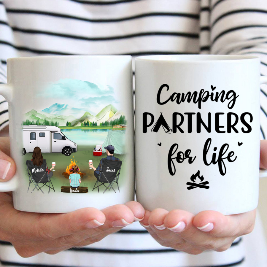 Personalized camping coffee mug gift idea for the whole family - Parents & upto 3 kids - Father's day gift - Mother's day gift from husband to wife