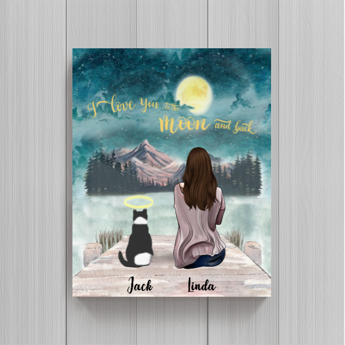 Cat Mom Personalized Poster - I Love You To The Moon And Back