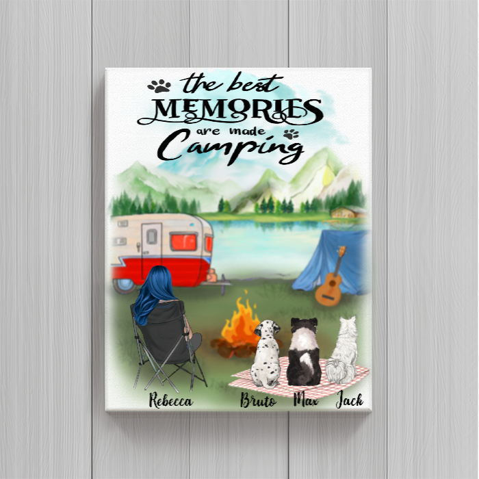 Personalized Mother's Day Gift For Dog Mom - Mom & Upto 3 Dogs Camping Poster - The best memories are made camping - Gift idea for dog moms
