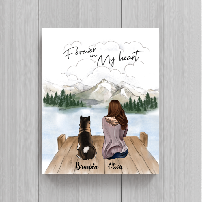 Personalized Mother's Day Gift For Dog Mom - Mom & Upto 3 Dogs Poster - Gift idea for dog moms - Forever In My Heart