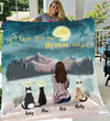 Cat Mom Personalized Fleece Blanket - I Love you to the moon and back