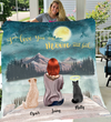 Girl and Her Pets Personalized Fleece Blanket - I Love you to the moon and back