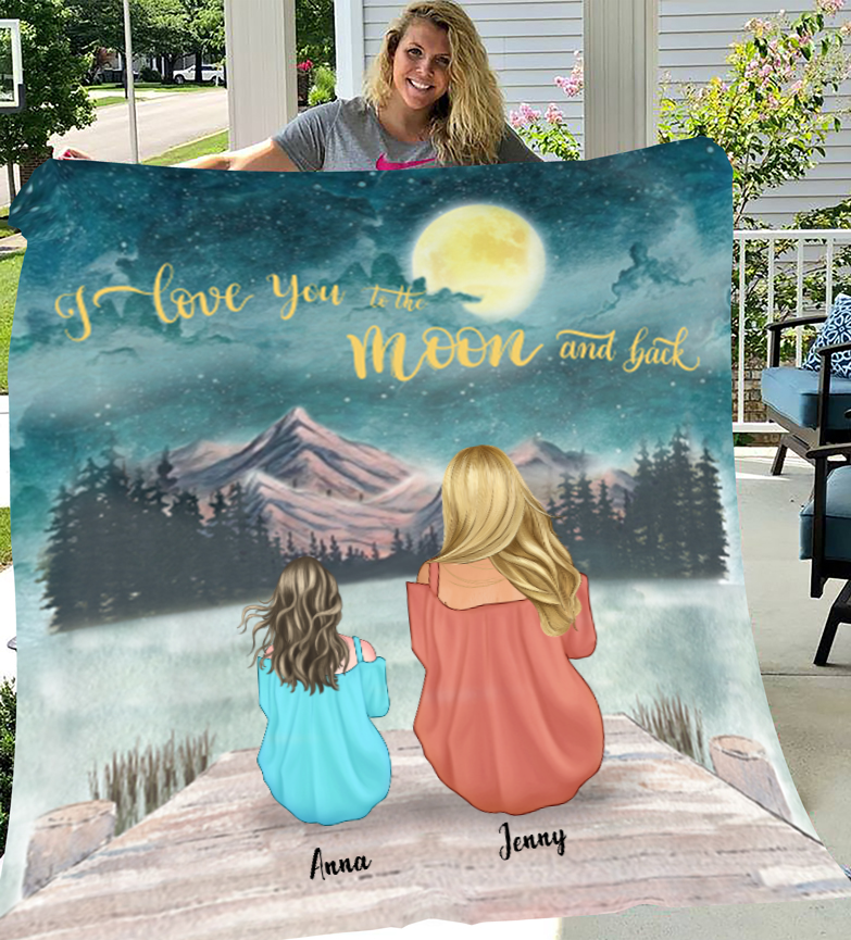 Mom and Daughter Personalized Fleece Blanket - I Love you to the moon and back