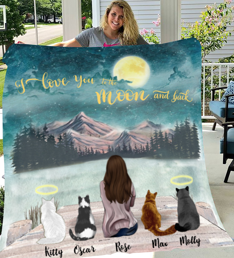 Cat Mom With 4 Cats - Personalized Fleece Blanket I Love you to the moon and back