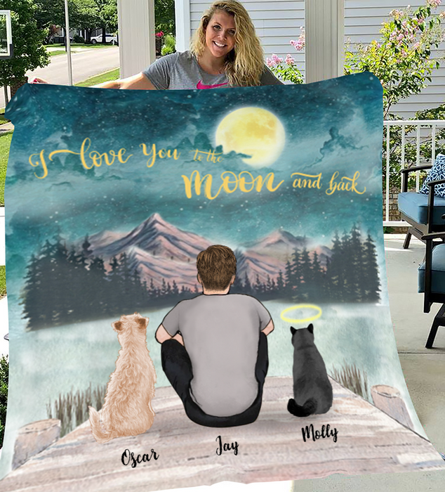 Man and His Pets Personalized Fleece Blanket - I Love you to the moon and back