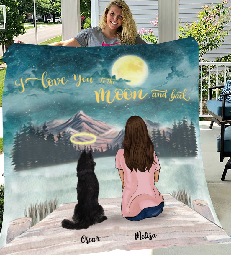 Personalized Mother's Day Gift For Dog Mom - Mom & Upto 4 Dogs Personalized Fleece Blanket - I love you to the moon and back