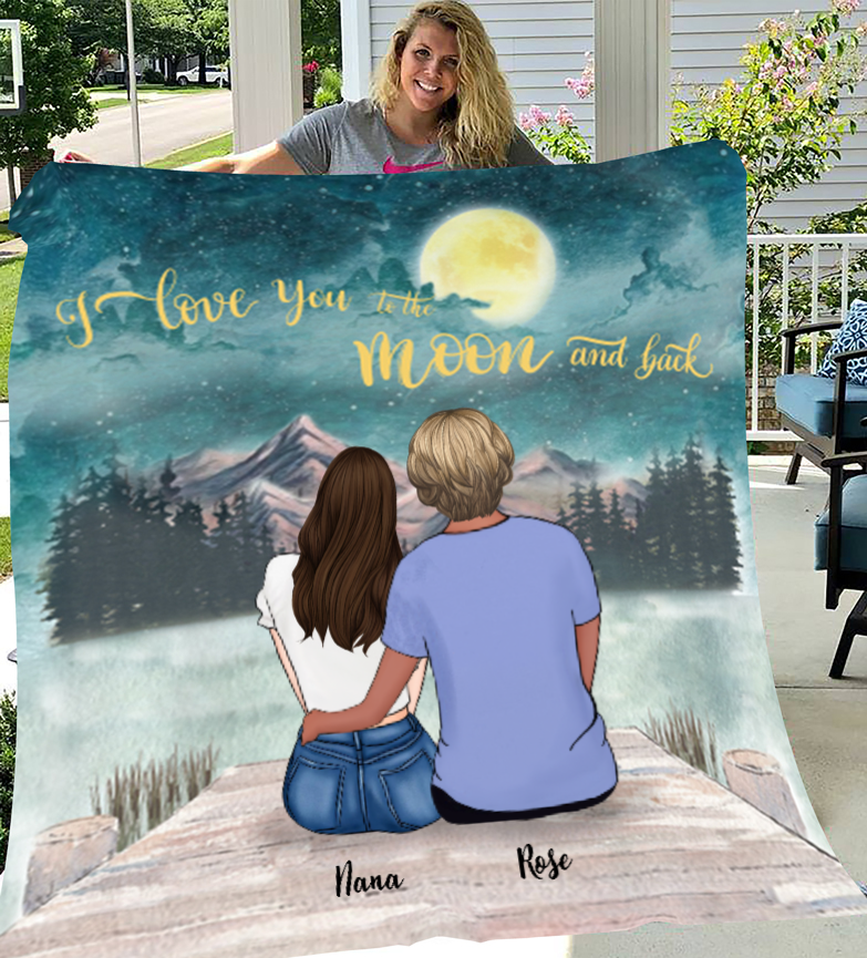 Mom & Daughter Personalized Fleece Blanket - I Love you to the moon and back