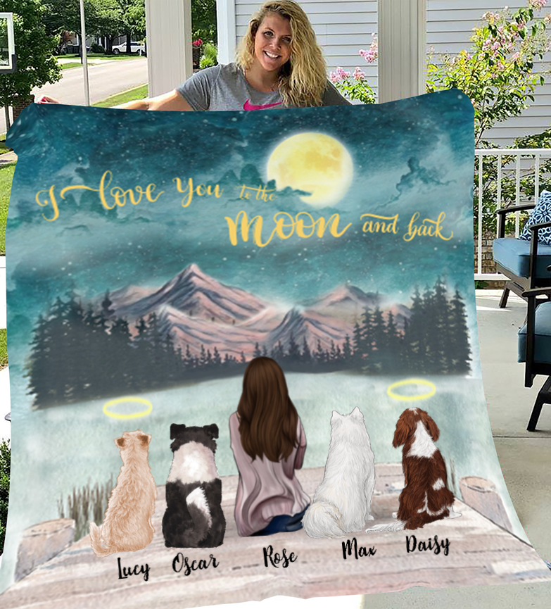 Dog Mom Personalized Fleece Blanket - I Love you to the moon and back