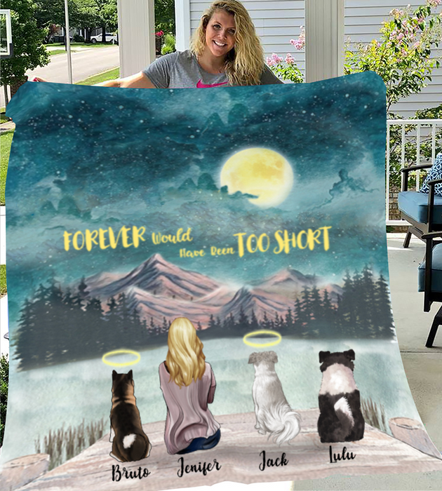 Personalized Mother's Day Gift For Dog Mom - Mom & Upto 3 Dogs Personalized Fleece Blanket - I love you to the moon and back