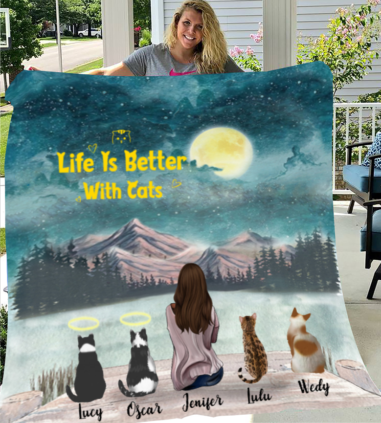 Cat Mom With 4 Cats - Personalized Fleece Blanket