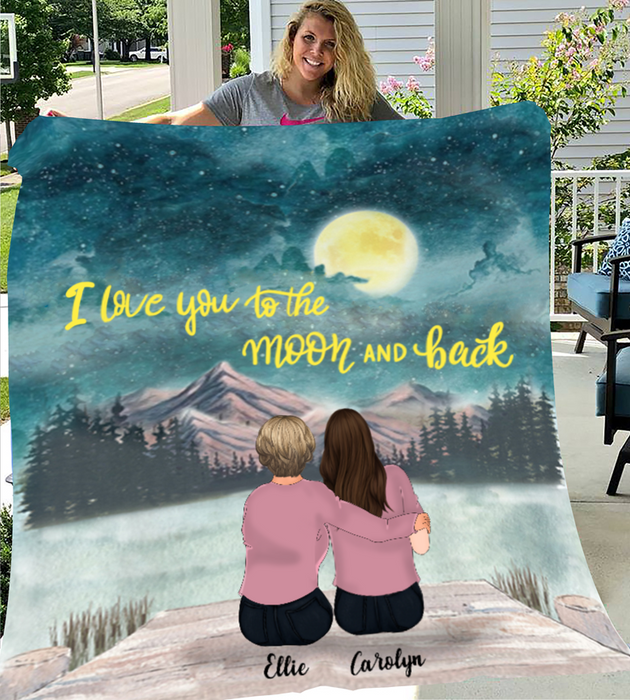 Personalized Blanket Best Gift for Mom - Mom & 2 Daughters Fleece Blanket -  I love you to the moon and back