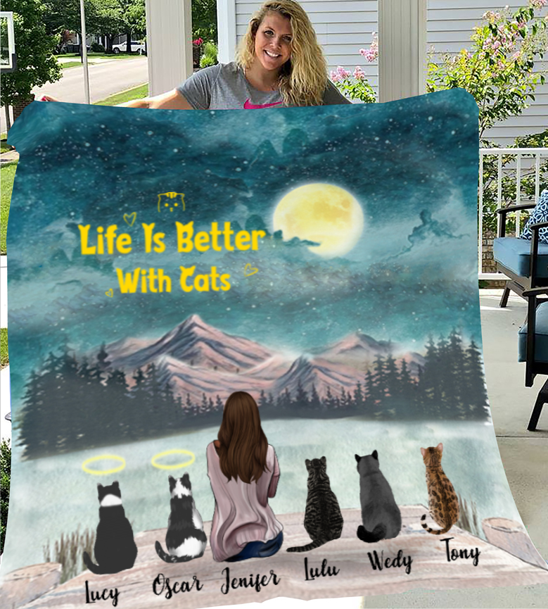 Cat Mom With 5 Cats - Personalized Fleece Blanket