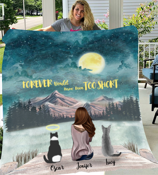 Custom Cat Blanket - Personalized gift for Cat Mom - Upto 3 Cats Fleece Blanket - I love you to the moon and back