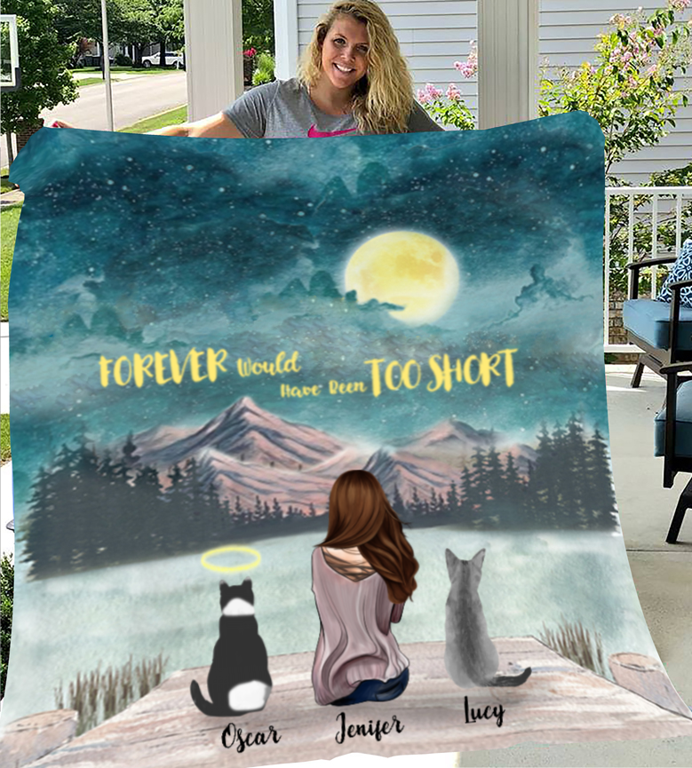 Personalized Mother's Day gift for cat lovers - Mom & Upto 3 cats fleece blanket - Cat mom Mother's day - I love you to the moon and back