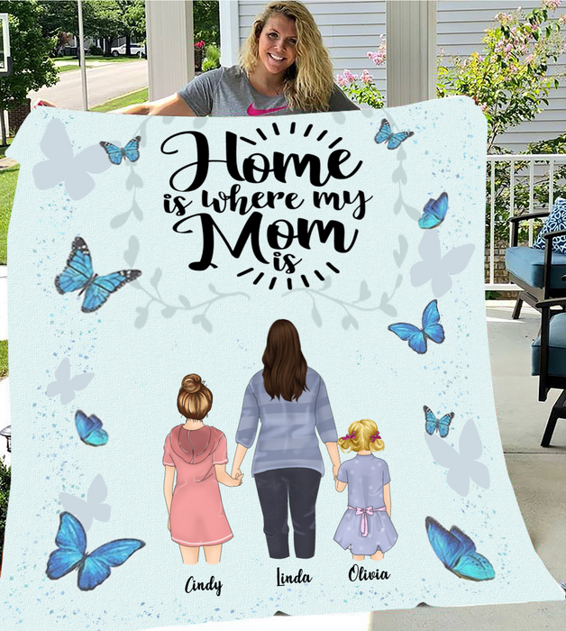 Personalized Mother's Day Gift From Daughter to Mom - Mom & 2 Daughters Personalized Fleece Blanket - I love you to the moon and back