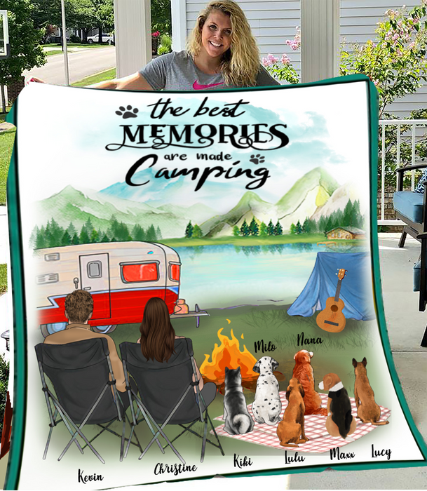 Custom personalized dog & owners camping blanket gift idea for the whole family, dog lovers - 6 Dogs & Couple camping Fleece Blanket