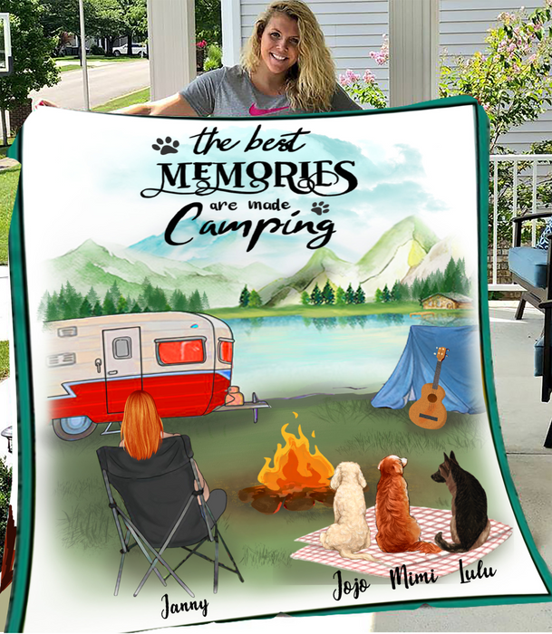 Personalized Mother's Day Gift For Dog Mom - Mom & Upto 3 Dogs Personalized Camping Fleece Blanket - The best memories are made camping - Gift idea for dog moms