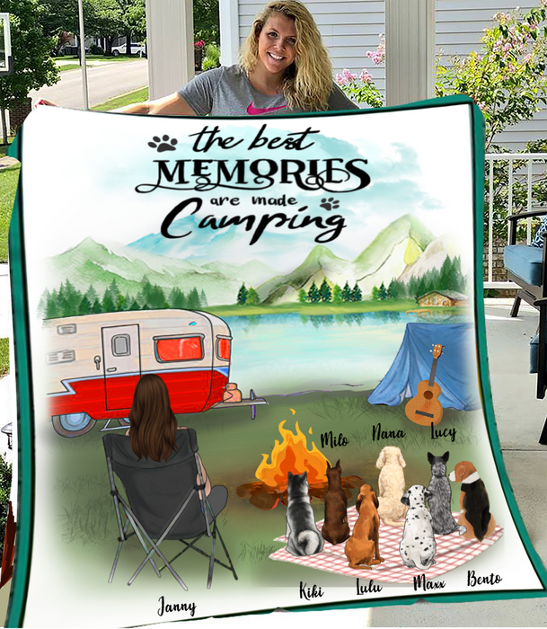 Dog Mom With 7 Dogs - Camping - Personalized Fleece Blanket
