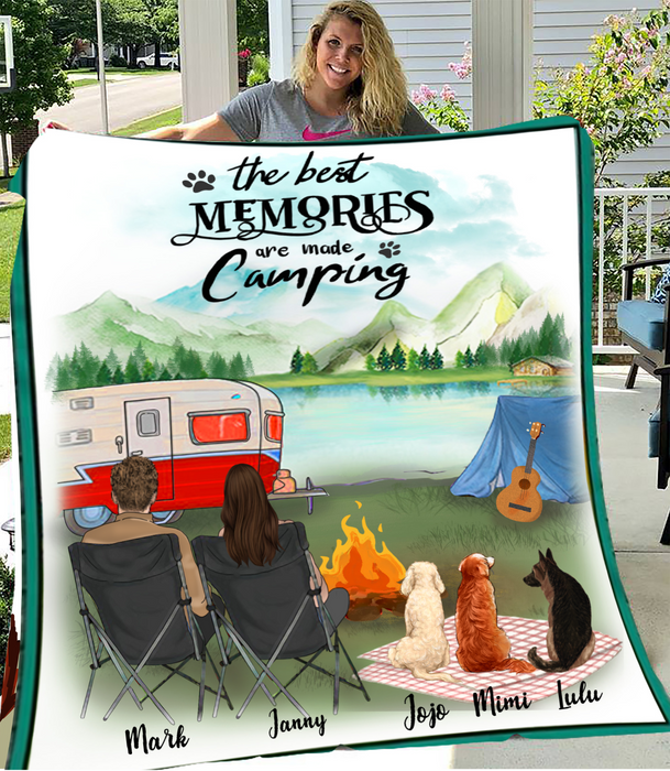 Couple And Dogs - Camping - Personalized Fleece Blanket