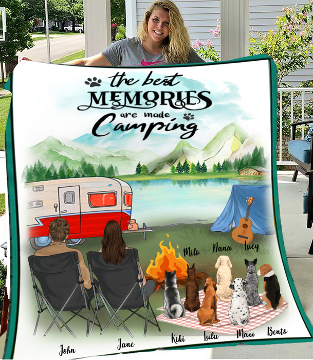 Couple With 7 Dogs - Camping - Personalized Fleece Blanket