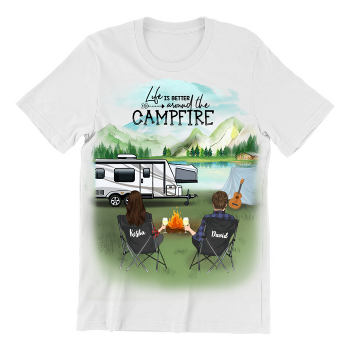 Personalized Camping T-shirt, Gift Idea For Couple, Camping Lovers - Personalized Couple Camping T-Shirt - Life is better around the campfire