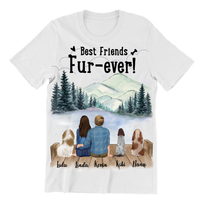 Custom Dog T-shirt, Gift Idea For Dog Owners - 1 Dog & Couple Personalized Family T-shirt - Best Friends Fur-ever!