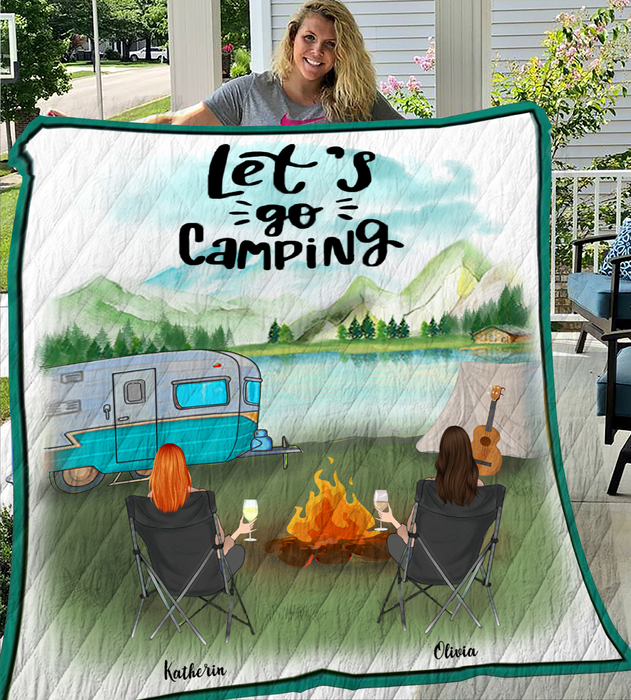 Woman & Woman With Drinks - Camping - Personalized Quilt Blanket - V2