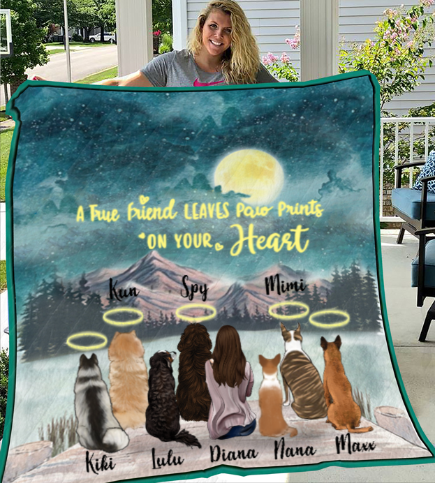 Personalized Mother's Day Gift For Dog Mom - Mom and 7 Dogs Personalized Quilt Blanket - I love you to the moon and back  - Gift ideas for dog moms