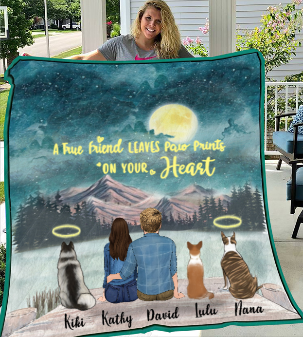 Couple And 3 Dogs - Personalized Moonlight Quilt Blanket
